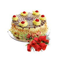 Special Butterscotch Cake 1.5Kg with Fresh Red Roses