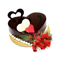 Special Chocolate Cake 1.5Kg with Fresh Red Roses Premium