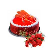 Red Velvet Cake 1.5Kg with Fresh Red Roses