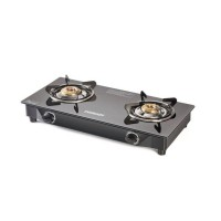 Eveready GS CS2B Glass Top 2 Burner Gas Stove Black
